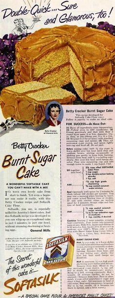 Vintage Betty Crocker recipe for Burnt Sugar Cake. Retro Recipes, Old Recipes, Vintage Recipes, Cake Recipes, Recipies, Muffins Halloween, Halloween Cookies, Betty Crocker, Burnt Sugar Cake