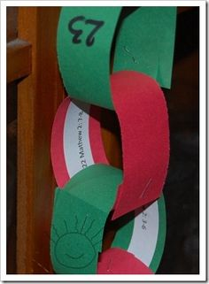 I remember making these as a child and also with my own children. I like the idea of putting a verse inside. Can be used as an Advent chain or to decorate a Christmas tree.
