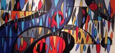 Monsoon. 24x48in. Abstract acrylic on canvas. It is currently on display at Mid Mod Gallery in the RiNo arts district of Denver, Colorado.