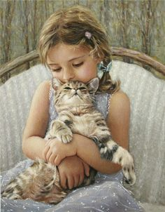 ~ Chantal Poulin Cute little girl trying to Mother her kitty. I Love Cats, Cute Cats, Illustrations, Illustration Art, She And Her Cat, The Embrace, Photo Chat, Here Kitty Kitty, Beautiful Paintings