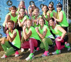 Team designed shirts & even got fun leggings! Notice the colored duct tape to keep your shoes on through the muddy fun!