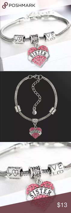 ❗️New❗️Silver & PINK Sister Charm Bracelet New with tags-❗️see last picture for item details❗️ Boutique Jewelry Bracelets