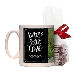 Whole Latte Love Mug, White, with Ghirardelli Peppermint Bark, 11 oz, Black