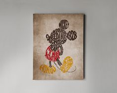 Wall art canvas with Disney Mickey Mouse in vintage style, Disney vintage wall art canvas. Worldwide FREE SHIPPING with tracking number!
