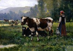 """Julien Dupré (1851 - 1910) - """"Paysage Avec Animaux"""""""