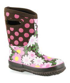 Brown & Pink Floral Rain Boot