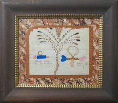 Folk Art - Antique American Folk Art Love Token With Hair, Heart, Hands and…