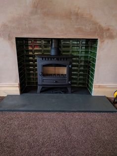 1930s Fireplace, Edwardian Fireplace, Hearth Tiles, Log Burner, Hearth And Home, Fire Places, Stove, Terrace, Living Room Decor