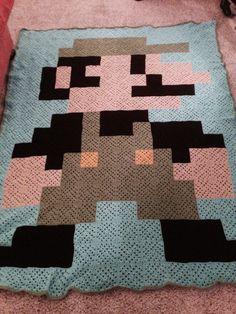 Crochet Ideas, Crochet Projects, Crochet Patterns, Granny Square Blanket, Granny Squares, Pixel Crochet, Knit Crochet, 8 Bit, Mario Bros