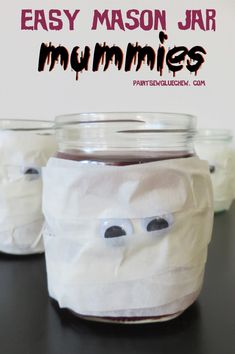 Make these mason jar mummies in a matter of minutes. Perfect for last minute halloween decorations. Just add your favourite spooky drink. Easy Halloween Crafts, Halloween Projects, Diy Halloween Decorations, Easy Diy Crafts, Recycled Crafts, Halloween Treats, Creative Crafts, Diy Craft Projects, Creative Ideas