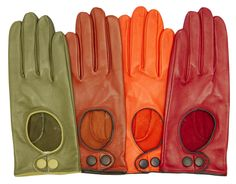 Women's Italian Leather Driving Gloves with Contrast Welting By Fratelli Orsini | Free USA Shipping at Leather Gloves Online