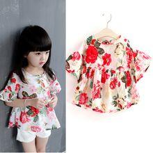 Beautiful Flower Children Girl Shirt Summer Chiffon Kids Girls Blouses Shirts Princess Baby Tops Clothes Clothing(China (Mainland))
