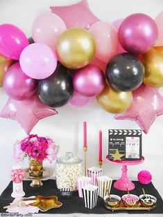 Movie Night Party Ideas in Pink, Gold and Black - easy, glam and girly ideas for hosting a cinema birthday party premiere, or watching the Oscars! Cinema Party, Pink Movies, Pink Gold Party, Party Themes, Party Ideas, Movie Night Party, Party Kit, Dessert, Birthday Parties