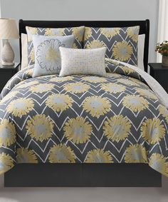 Take a look at this Yellow Naomi Reversible Comforter Set by Victoria Classics on #zulily today!