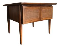 Mid-Century Modern Side Table With Caned Doors . on Chairish.com