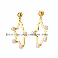 pendientes de estrella con perla blanca en acero dorado inoxidable -SSEGG404319