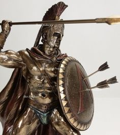The superb detailing and hand painted accents really bring this statue to life. Spear Length: 13 What is cold cast bronze? Greek Warrior, Warrior King, Spartan Tattoo, Greek Mythology Tattoos, Roman Gods, Filipino Tattoos, Greek Art, Gay Art, Ancient Greece