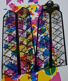 An original, hand-pulled screen print on archival, smooth, off-white art paper. Inspired by the beautiful stained-glass windows of the Sainte-Chapelle church in Paris | Natalie Horvat | Five colour screen print, both done with the stencil and photographic technique. Edition of 2, 2013
