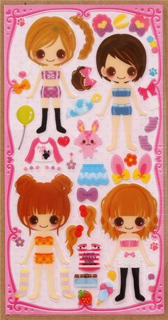 Animal costume girls dress up doll 3D stickers 2