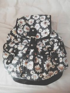Bag, flowers, black and white