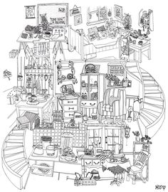 apartment building coloring picture 13 x 19 print by drawnbyholly