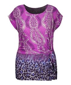 Another great find on #zulily! Magenta Leopard Side-Knot Tunic - Plus #zulilyfinds