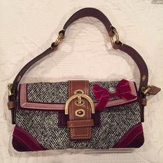 Coach tweed purse with velvet embellished bow. Adorable black and white tweed purse with fuschia velvet bow and gem. Coach Bags