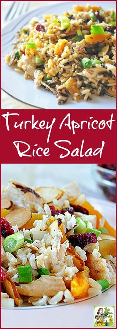 Looking for healthy turkey leftover recipes? Try Turkey Apricot Rice Salad! This easy to make salad recipe is naturally gluten free.