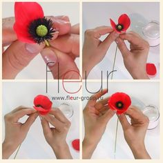 Poppy Flower DIY. There's no directions but the pictures are helpful. It looks like clay but paper would work too.