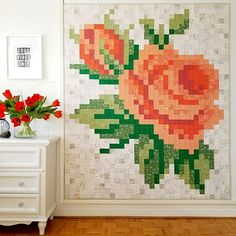Pixel quilting - Create a Stunning Rose Quilt with Fabric Squares – Pixel quilting Cute Quilts, Easy Quilts, Amish Quilts, Scrappy Quilts, Quilting Fabric, Texas Quilt, Flower Quilts, Quilt Patterns Free, Free Pattern