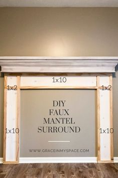 Adding a faux fireplace mantel instantly creates a focal point and cozy atmosphere in a room. Learn how to build a DIY fireplace mantel in any room! Home Fireplace, Faux Fireplace Mantels, Farmhouse Fireplace, Fireplace Mantel Surrounds, Fireplace, Faux, Fireplace Furniture