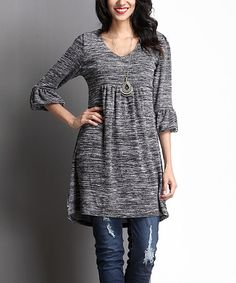Another great find on #zulily! Charcoal Melange Empire-Waist Puff-Sleeve Tunic #zulilyfinds