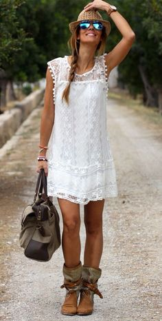 BOHO FRINGE LACE DRESS