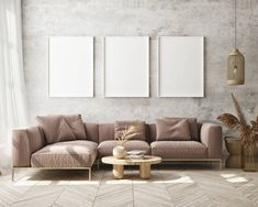 Living Room Empty, Hipster Living Rooms, Sofa Frame, Empty Wall, Decor Ideas, Template, Couch, Gallery, Wood