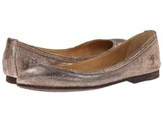 Frye carson ballet silver metallic cracked leather zappos com free
