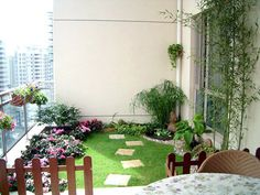 green grass balcony