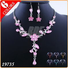 Cheap Wedding Jewelry Sets 18k Gold Flower Necklace and Earrings Red Pink Orange Purple Blue Black 19735 US $3.89