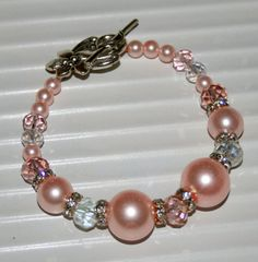 Gorgeous pink pearl and crystal bracelet by DakotaDesignsbyVicki, $20.00