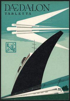 Art Deco Poster, c. 1935 / Daedalon Tabletta (motion sickness tablets)