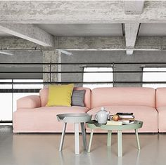 A pop of pastel colours adds dimension to this industrial design workspace.  #loftpolish #design #industrial #chic #pastels #couch #office #lounge #interiordesign #design #decor