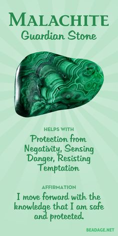 Malachite is a stalwart protector and bolsterer of your strength and willpower. It helps you access your innate power and protects you from negativity as you take action in the world. Learn more about Malachite meaning + healing properties, benefits & Chakra Crystals, Crystals Minerals, Crystals And Gemstones, Stones And Crystals, Chakra Stones, Gem Stones, Healing Gemstones, Crystal Healing Stones, Crystal Magic