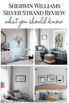 Master Bedroom Décor on a Budget – How to decorate a master bedroom step by step with tips on how to decorate around a paint color. Included is a simple master bedroom budget checklist with easy ideas Grey Bedroom Paint, Rustic Master Bedroom, Bedroom Décor, Bedroom Decor On A Budget, Decorating On A Budget, Bedroom Ideas, Decorating Websites, Joanna Gaines, Silver Strand Paint