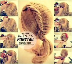 Cute retro braided ponytail | Hairstyle tutorial video