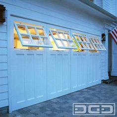 P♥-Garage door & Shop Windows. Not all carriage doors are created equal.Dynamic Garage Door custom designs and crafts real carriage doors that are one-of-a-kind creations specifically tailored to each home's architectural style and Modern Garage Doors, Garage Door Design, Craftsman Garage Door, Craftsman Windows, Garages, Girls Bedroom, Master Bedroom, Plan Garage, Carriage Garage Doors