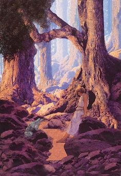 "Maxfield Parrish (1870 – 1966) was an American painter and illustrator. He worked on commission on books, advertising campaigns, magazines, and even sculpture. He was famous for his ""girls on rocks"" b"