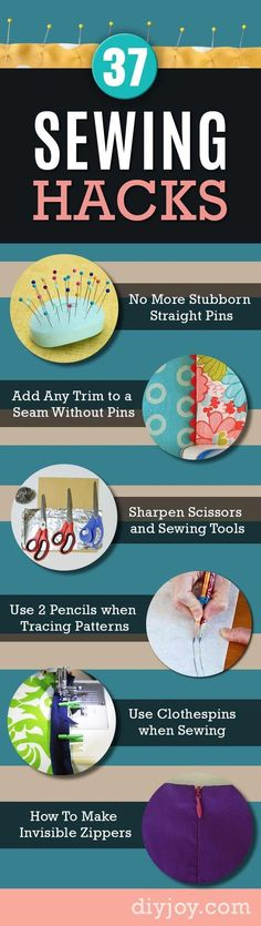 37 Sewing Hacks Show You How To Sew Like A Pro. Sewing Tips and Tricks for Beginners and Experts to Make Easy DIY Sewing Ideas diyjoy.com/...