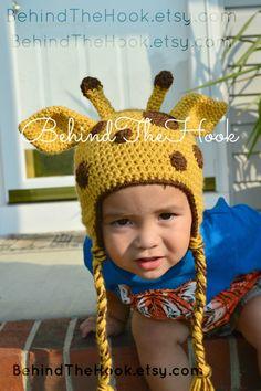 Crochet Giraffe Hat, Giraffe Hat, baby giraffe hat mum needs to do this! Crochet Beanie Hat, Crochet Cap, Knitted Hats, Crochet Hats For Boys, Crochet Baby Hats, Newborn Hats, Newborn Photo Props, Giraffe Crochet, Animal Hats