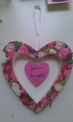 Hart met glitter en bloemen € 5,50
