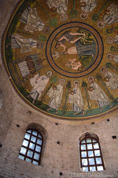 """O teto do Battistero - """"Ravenna, a cidade dos mosaicos"""" by @blogteritorios"""
