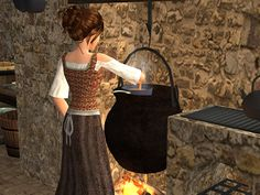 This cooking pot stove is perfect for a medieval kitchen. Just slip it into an empty fireplace and presto! Medieval, Marquess, Cooking Stove, Big Hugs, Sims 2, Kitchen Stuff, Middle Ages, Empty, Appliances